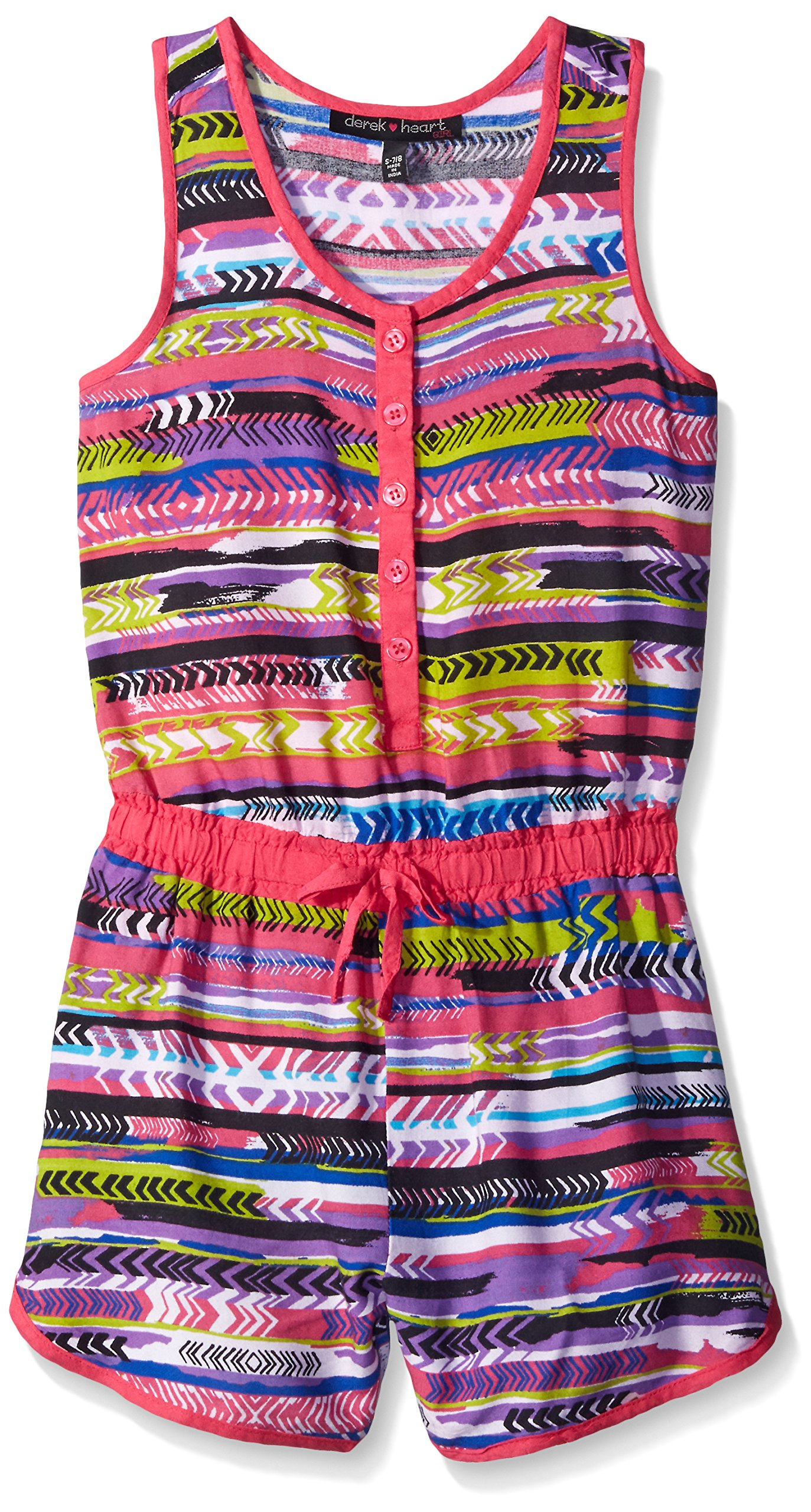 Derek Heart Big Girls' All Over Print Button up Romper with Mock D'Cord, Pink, Small