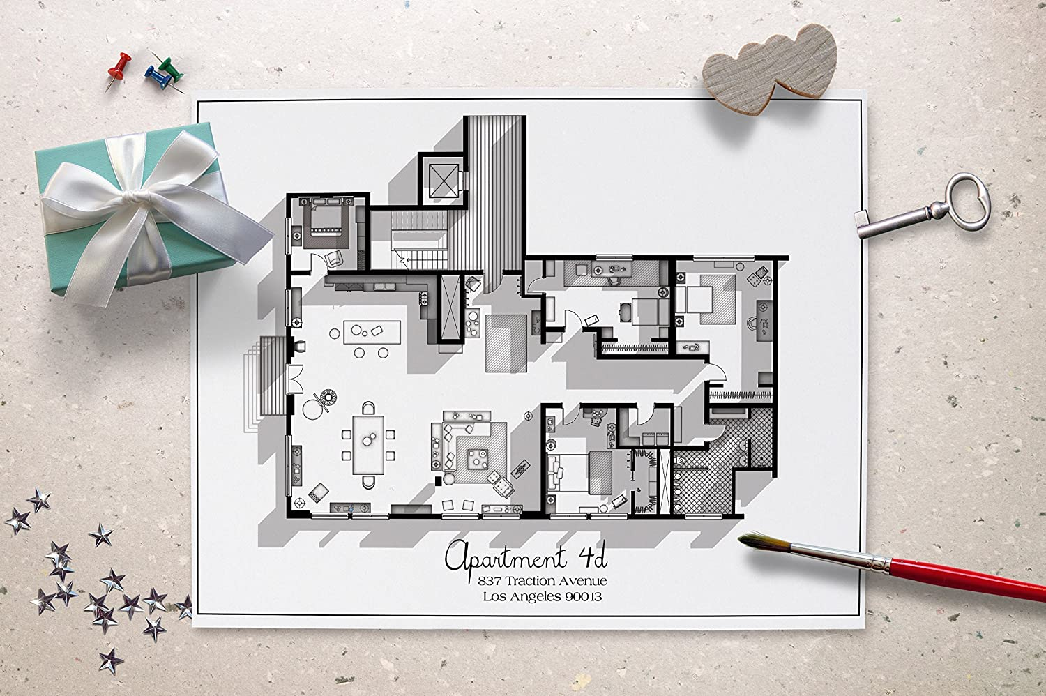 Amazon.com: New Girl TV Show Apartment Floor Plan   Black And White  Edition  New Girl TV Show Layout   Apartment 4D Floor Plan   New Girl  Poster   Gift Idea ...