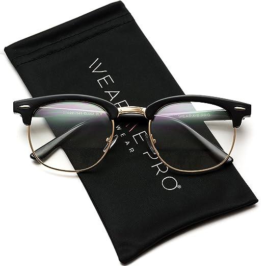 113e9b4e9d Vintage Inspired Classic Half Frame Horn Rimmed Clear Lens Glasses Optical  Quality