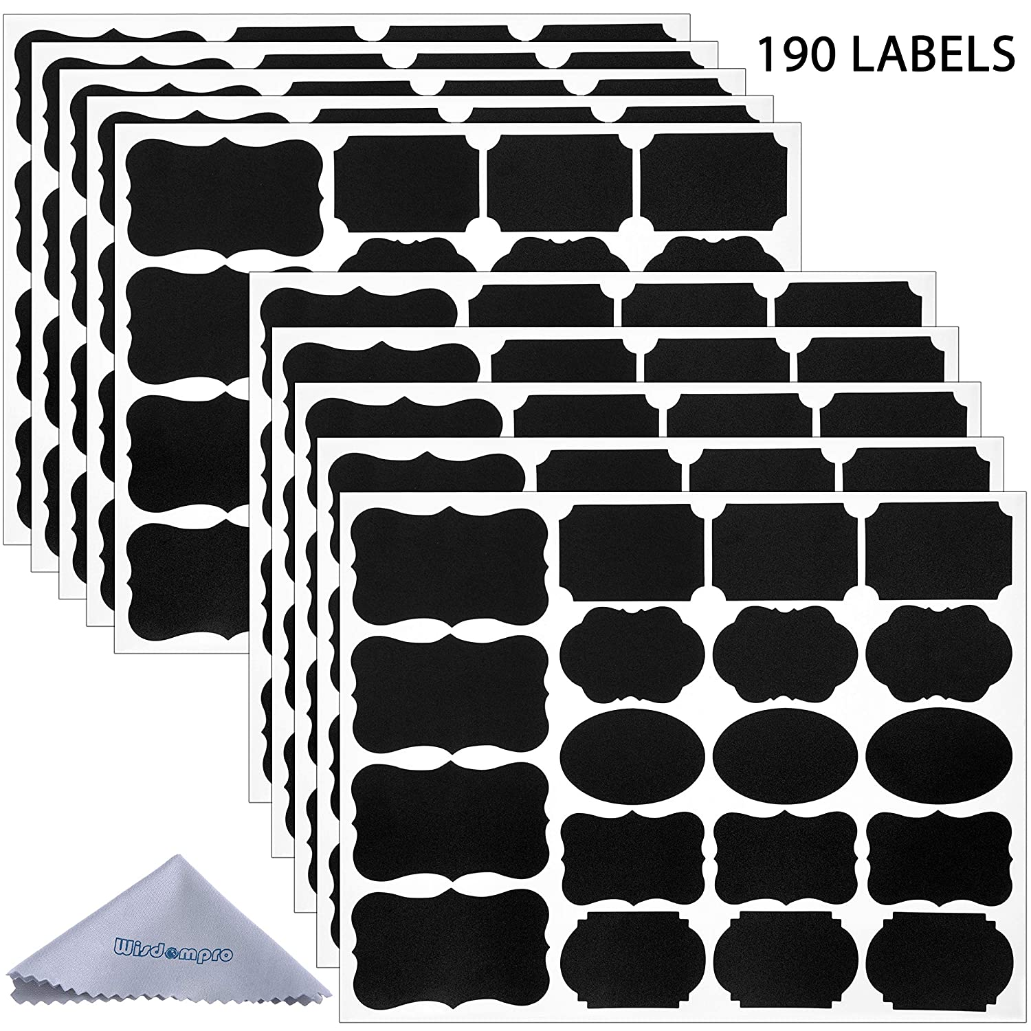 Wisdompro Chalk Board Labels Stickers for Food Jars, Spice, Glass, Cups, Bottles, Containers and Canisters, Decorative Reusable Waterproof Blackboard Labels - 10 Sheet (190Pcs)