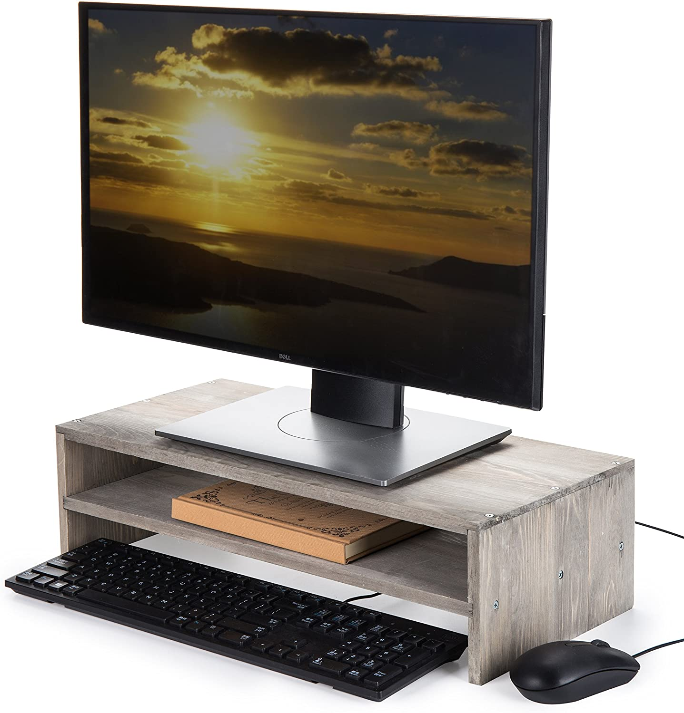 MyGift 2-Tier Rustic Barnwood Style Computer Monitor Stand & Desktop Shelf