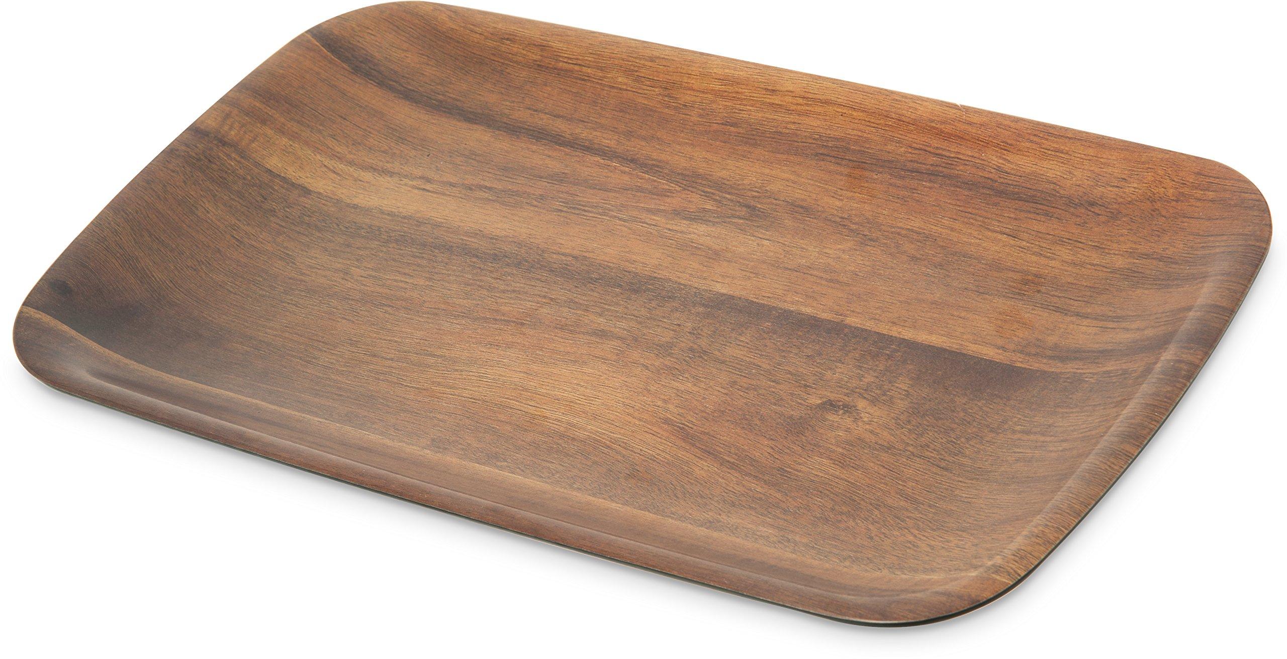 Carlisle EAG0569 Epicure Melamine Acacia Wood Grain Rectangle Tray, Plastic, 14'' x 8'', Woodgrain (Pack of 12)