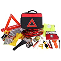 Thrive Roadside Assistance Auto Emergency Kit + First Aid Kit – Square Bag - Contains Jumper Cables, tools, Reflective Safety Triangle and more. Ideal winter accessory for your car, truck, camper