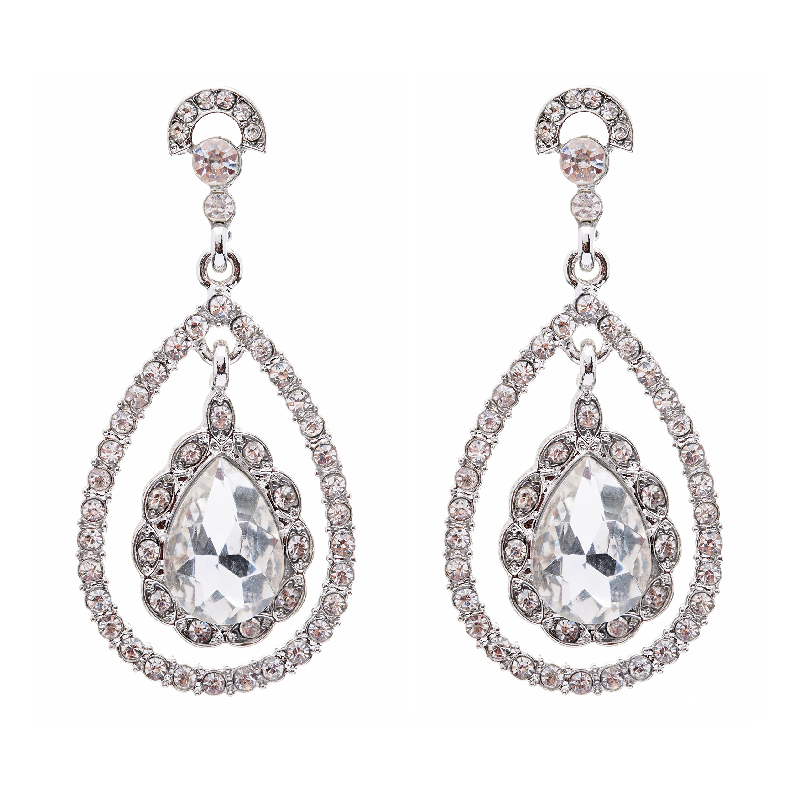 Bridal Wedding Jewelry Crystal Rhinestone Dazzle Elegant Dangle Drop Earrings SV by Accessoriesforever (Image #1)
