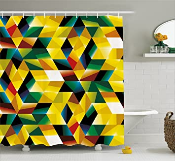 Modern Art Home Decor Shower Curtain By Ambesonne Trippy Dimensional Geometric And Triangles Futuristic Design