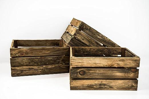 Set 3 Cajas de Madera Pino Sam, Envejecido, Marrón, Cajas Almacenamiento. 49x31x24cm. Incluye Imán Personalizable de Regalo.: Amazon.es: Hogar