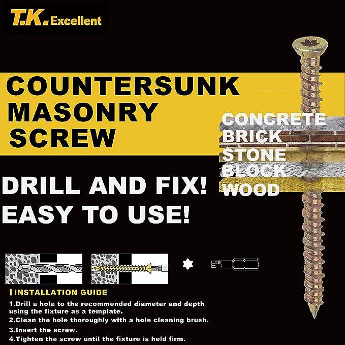【YZ//P】 zhejiang excellent industries CO LTD T.K.Excellent Flat Head Concrete Screw Anchor 7.5x80mm 50Pcs and Inner Hexagon Socket T30 Kit
