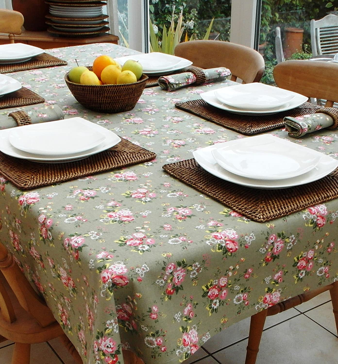 140x210cm RECTANGLE VINTAGE SAGE GREEN WITH PINK FLOWERS COTTON TABLECLOTH *CATH KIDSTON STYLE* - 6 SEATER THE TABLECLOTH COMPANY