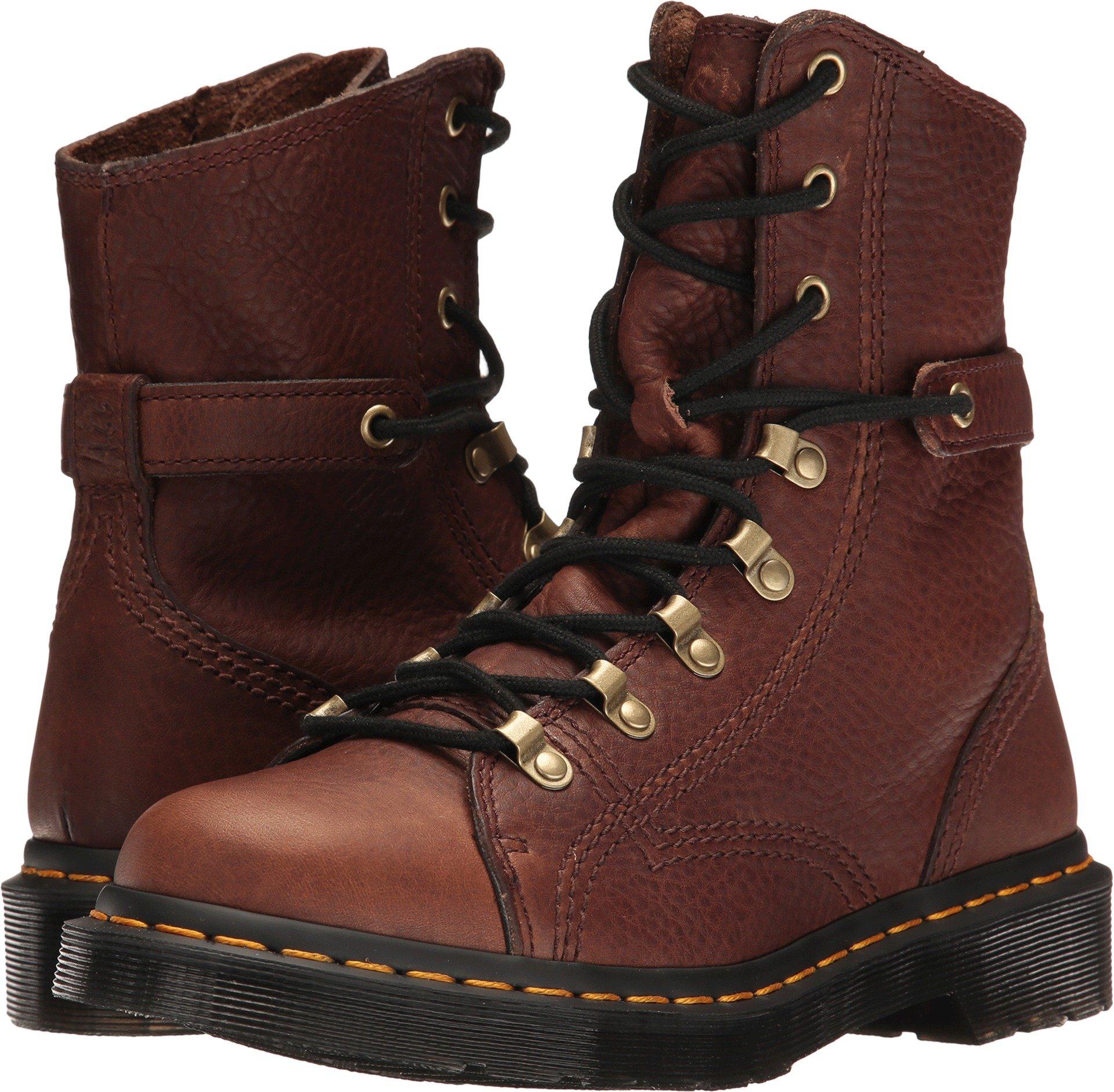 Dr. Martens Women's Coraline in Dark Brown Gizzly Leather Combat Boot, Dark Brown Grizzly, 7 Medium UK (9 US)