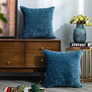 Lipo Thick Chenille Pillow Covers 16x16- Set of 2 Decorative Euro Throw Pillows Cover, Soft Cushion Case, Home Decor Rustic Farmhouse for Couch, Bed, Sofa, Bedroom, Car (Navy, 16X16 Inch)