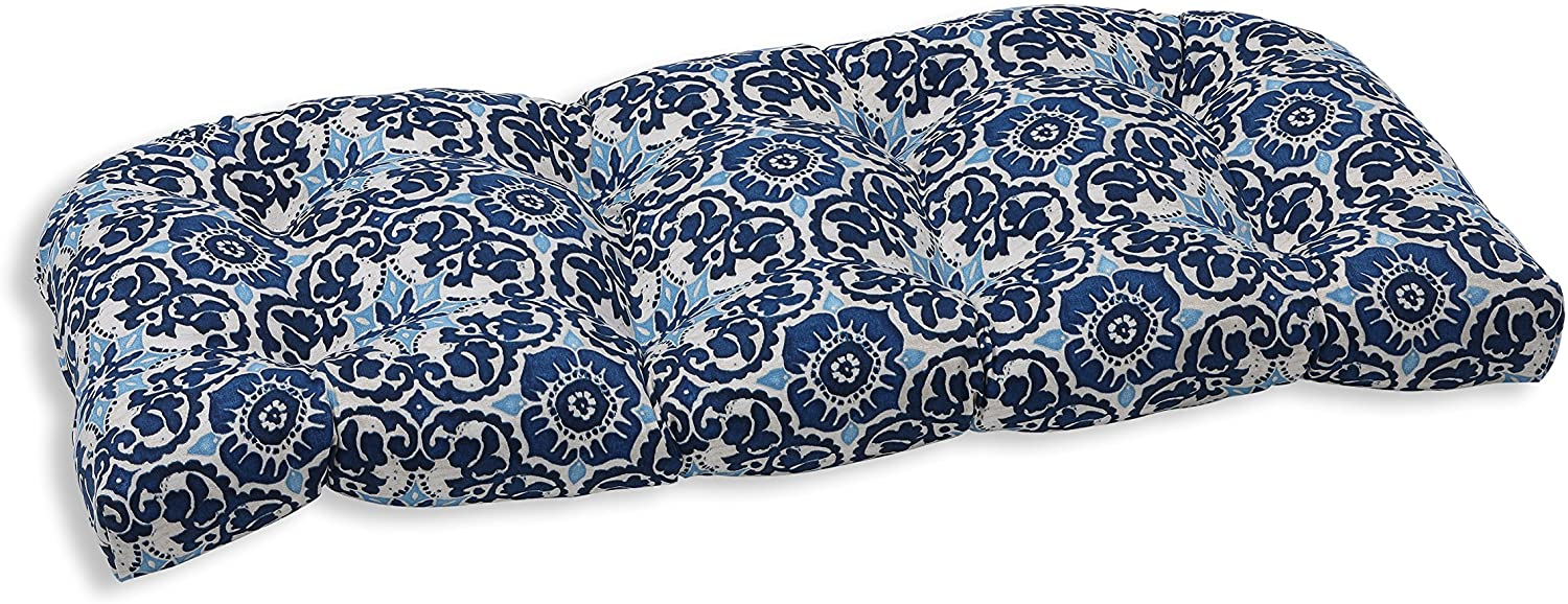 """Pillow Perfect 583402 Outdoor/Indoor Woodblock Prism Tufted Loveseat Cushion, 44"""" x 19"""", Blue"""