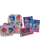 Shimmer and Shine Backpack with Detachable Insulated Lunch Bag Bundle - Pink and Purple Back to School Supplies for Girls with Folders and Pencil Case - 5 Total Pieces