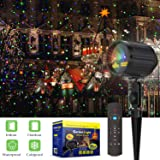 Christmas Projector Lights Laser Lights Laser Show Star Light Shower RF Wireless Remote RED GREEN & BLUE LED Waterproof for Xmas, Holiday, Parties and Garden Decoration