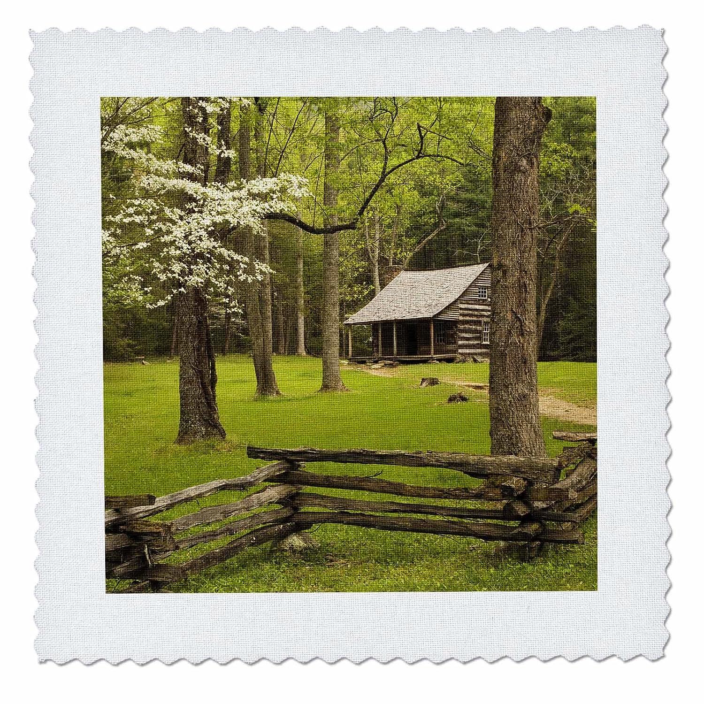 3dRose qs_89393_1 テネシー、グレートスモーキーマウンテン国立公園、ケイデスコーブキャビン- US11 JWL0270 - Joanne Wells - キルト正方形、10×10インチ   B00JXPPWVK
