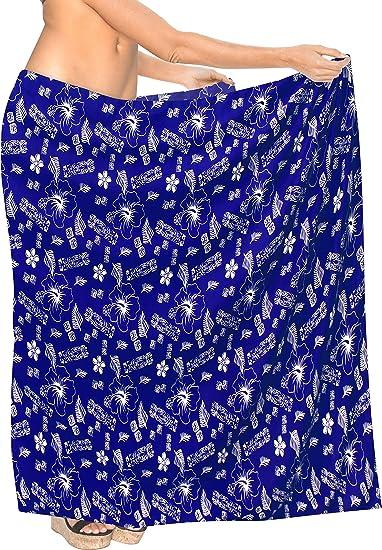 "79b77a04d5 LA LEELA Soft Light Cover Up Bathing Wrap Sarong Printed 78""X39""  Royal Blue_7122"
