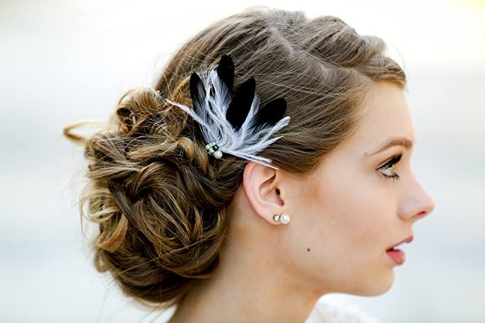 Amazon.com  Black White Hair Fascinator - Feather Accessories - Wedding  Bridal Special Occasion Bridesmaid Clip  Handmade dbad6ae5062