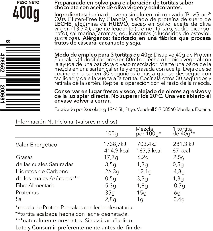 BODY GENIUS Protein Pancakes (Chocolate). 400g. Tortitas Proteicas Sin Azúcar Añadido. Con Proteína Whey Isolate y Harina de Avena. Hecho en España.