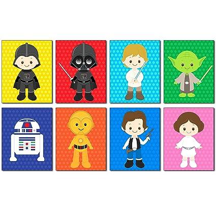 Amazon.com: Star Wars Kids Art Prints   Set Of 8   8x10 Adorable Photos   Kids  Room Or Nursery Wall Decor: Posters U0026 Prints