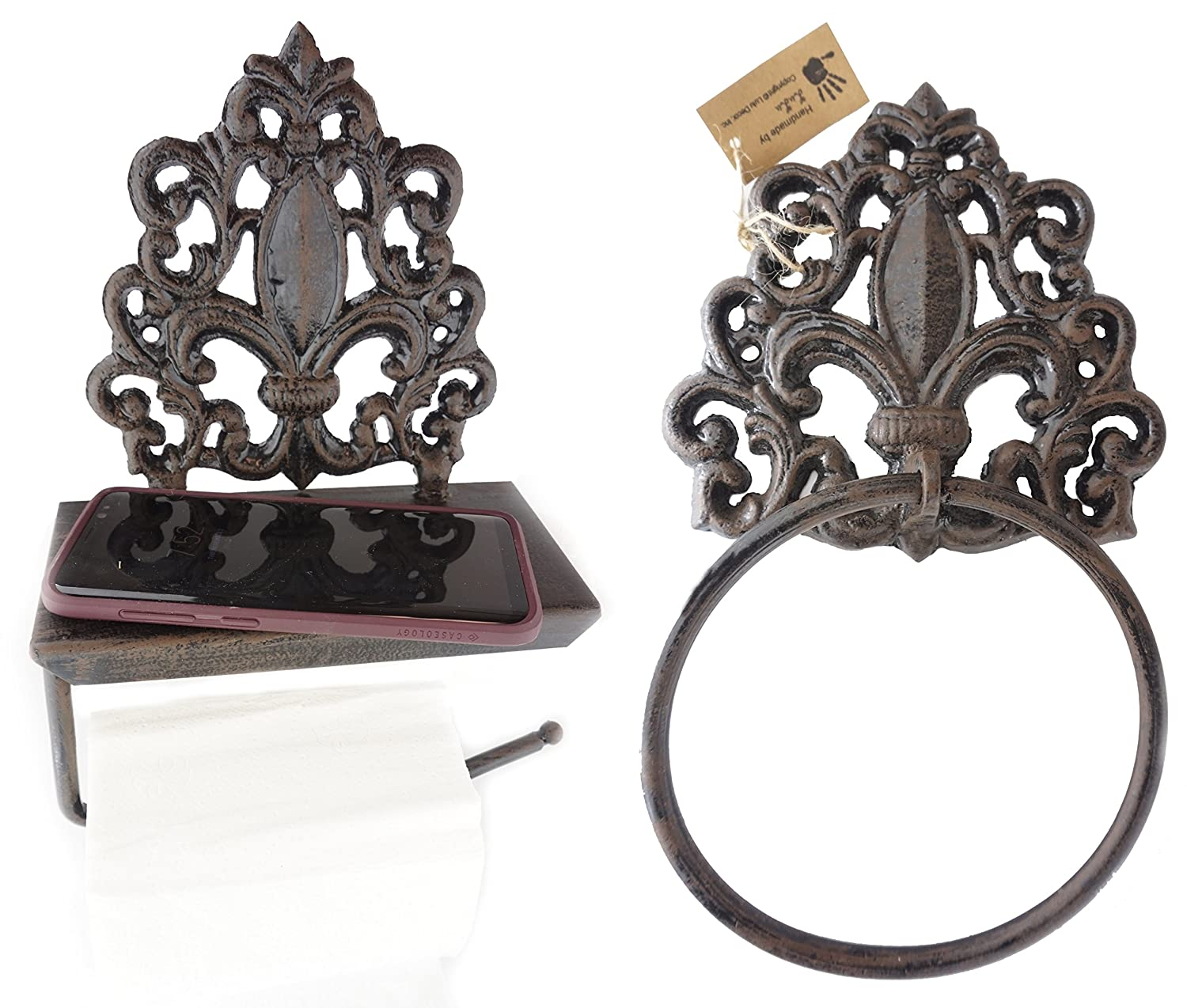 LuLu Decor, Set of Cast Iron Fleur De Lis Toilet Tissue holder & Towel Holder, designed with flat surface that can comfortably hold important belongings like cell phone, wallets, keys etc(Set)