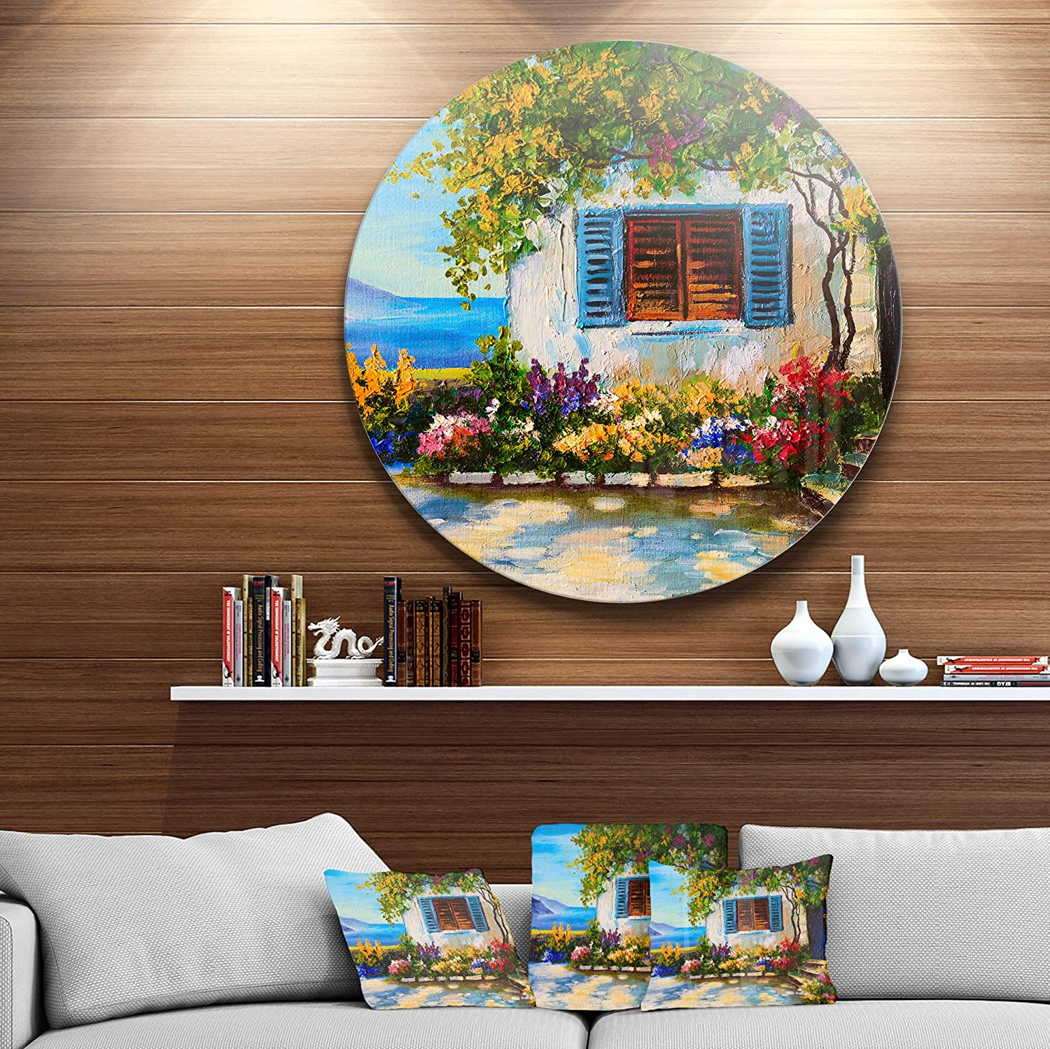 Disc of 23 inch 23 H x 23 W x 1 D 1P Designart House Near Sea Oil Landscape Painting Round Wall Art