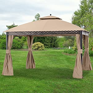 Garden Winds Replacement Canopy for The Pinehurst Dome Gazebo - Riplock 350 - Beige - Will NOT FIT Oakmont Gazebo