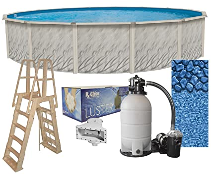 Meadows 24-Foot-by-52-Inch Round Above-Ground Swimming Pool Complete Bundle  Kit | Boulder Swirl Pattern Overlap Liner | A-Frame Ladder System | Filter  ...