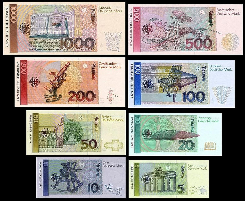 5 10 20 50 100 200 500 1000 Dm Banknotes 1991 Pick 37 44 Reproduction Amazon De Spielzeug