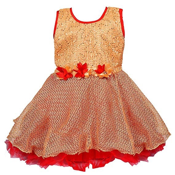80b2977ab Wish Karo Baby Girls Party Wear Frock Dress DN fe2218rd-12-18 Months Red:  Amazon.in: Clothing & Accessories