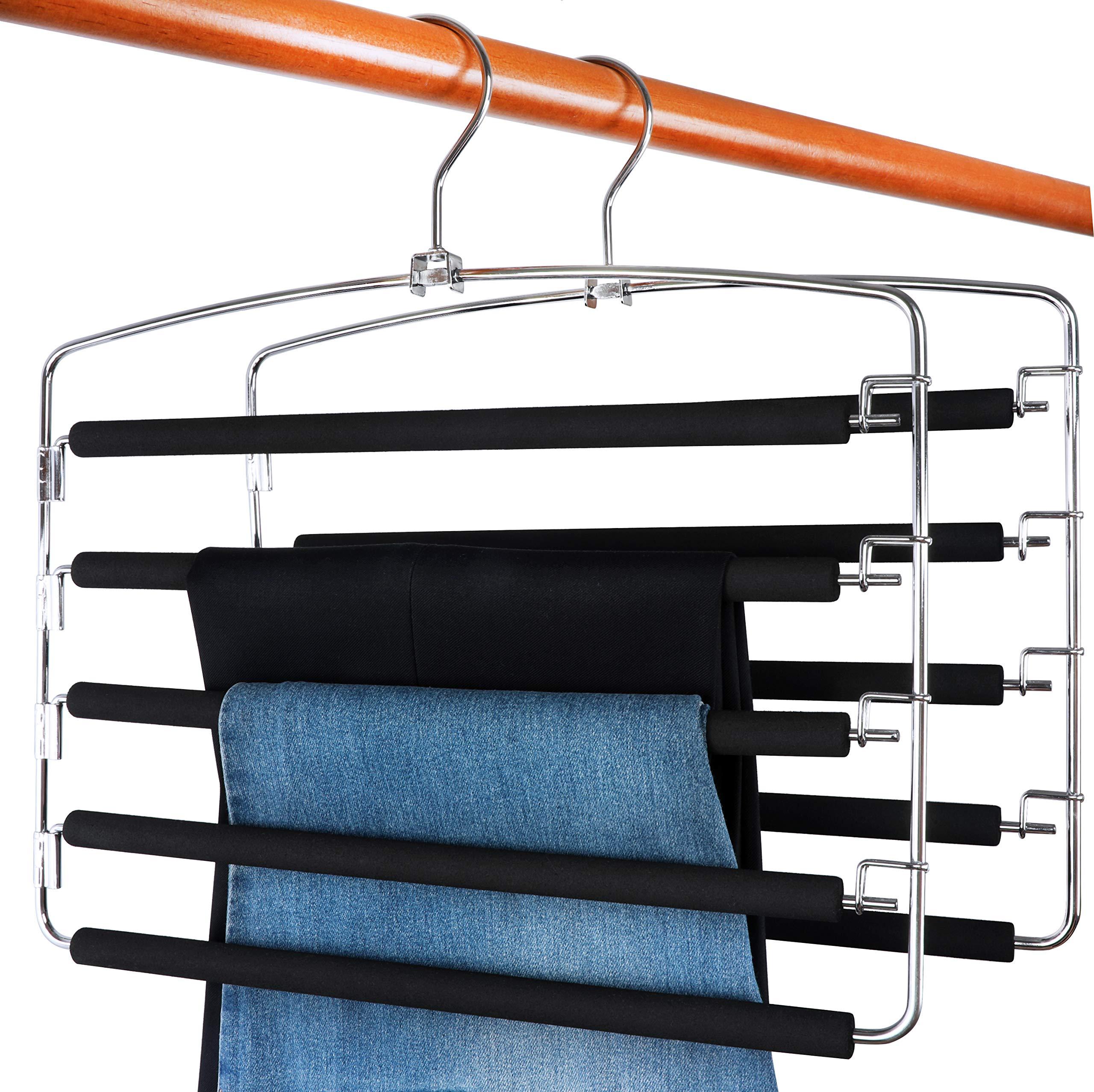 TOPIA HANGER Pants Hangers Slacks Hangers 2 Pack, Swing Arm Slack Hanger, Space Saving Non-Slip Foam Padded Closet Storage Organizer for Pants Jeans Trousers Skirts Scarf CT08B