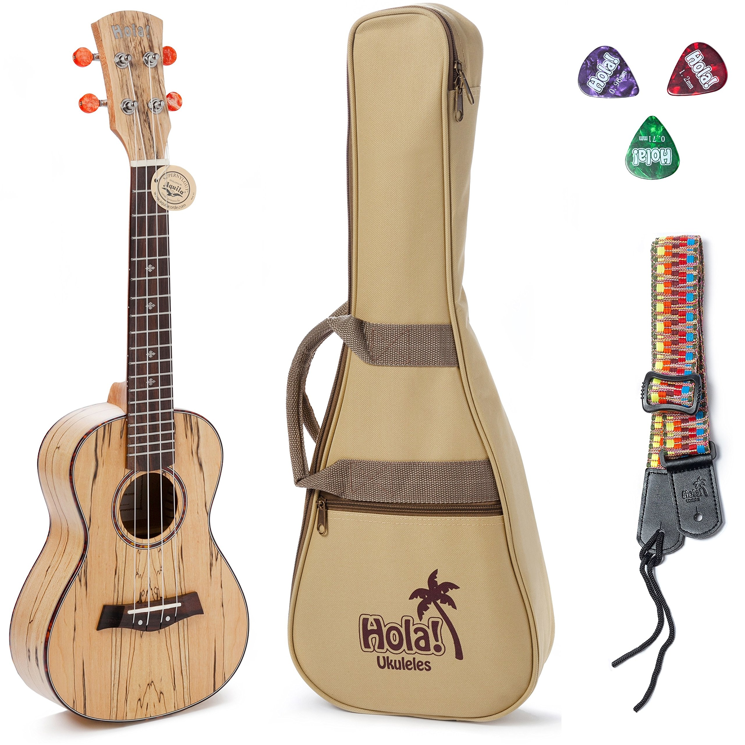 Concert Ukulele Deluxe Series by Hola! Music (Model HM-124SM+), Bundle Includes: 24 Inch Spalted Maple Ukulele with Aquila Nylgut Strings Installed, Padded Gig Bag, Strap and Picks - Limited Edition