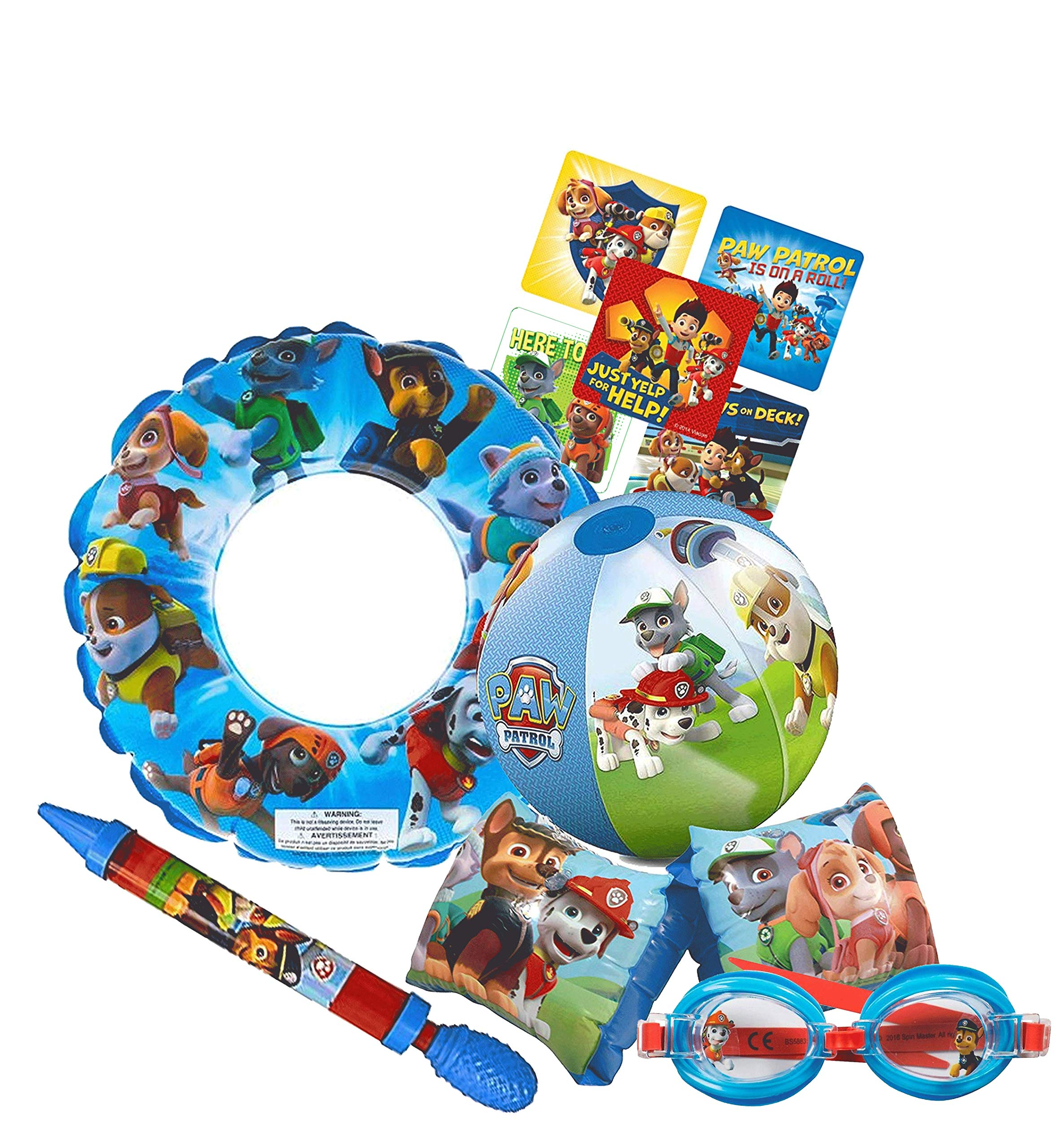 UPD Licensed Swim Sets! Pool Toys Bundle! Swim Ring, Arm Floats, Beach Ball and Water Blaster in All Your Favorite Characters! (5 Piece, Paw Patrol) by UPD