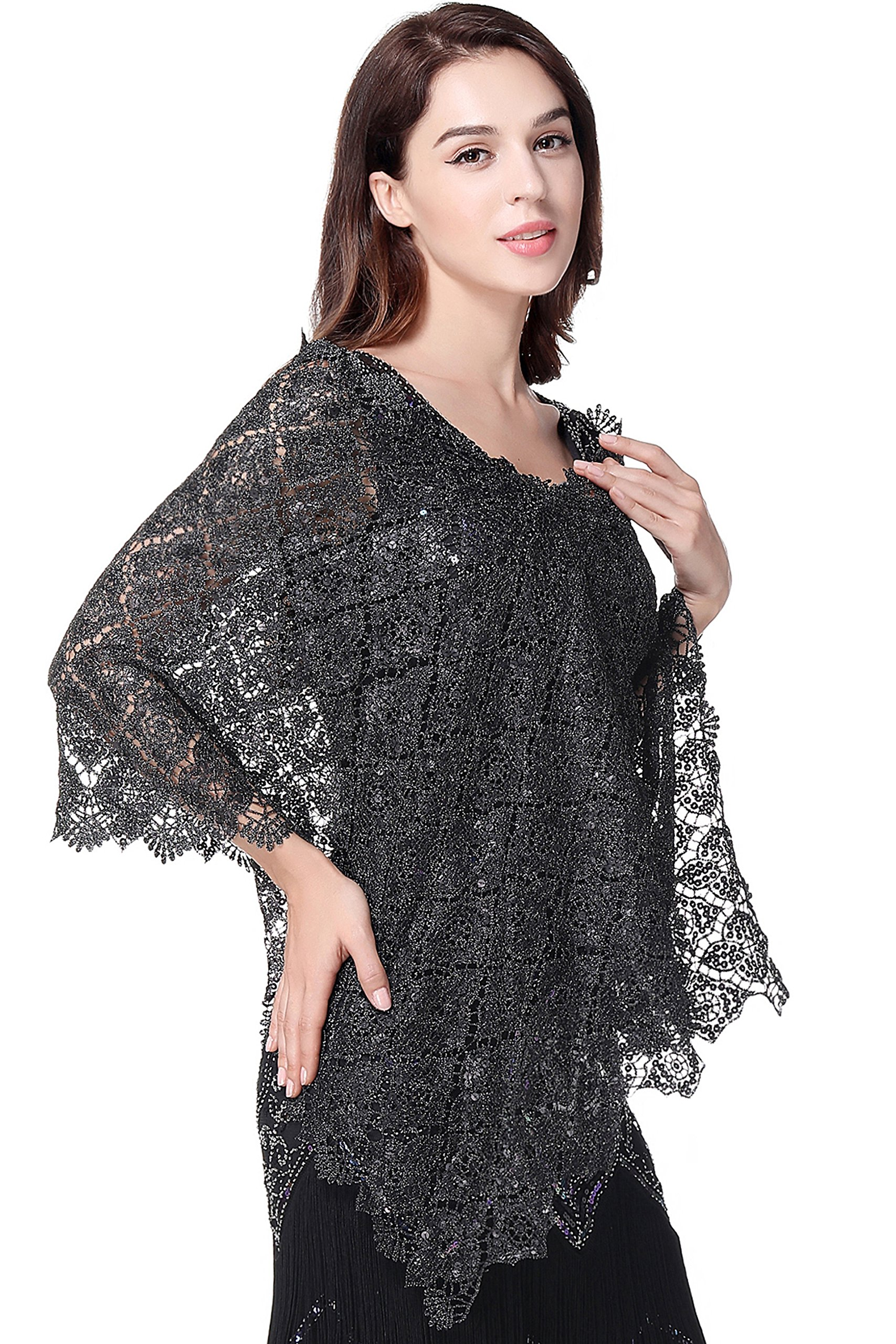 BABEYOND 1920s Sequined Embellished Shawl Evening Cape Wedding Bridal Wrap Scarf