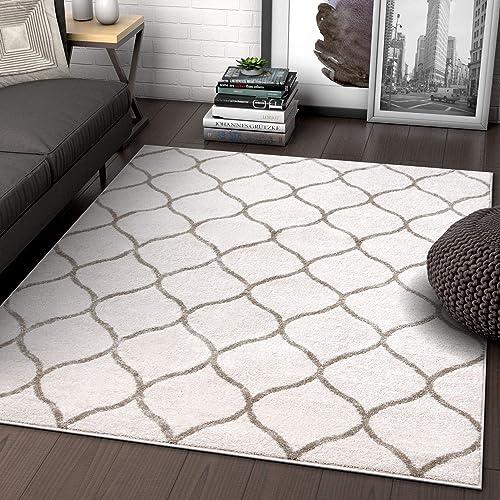 Scala Trellis Ivory Modern Traditional Moroccan Lattice Area Rug 5×7 5 3 x 7 3 Carpet