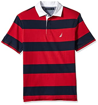 8d8ca8e9804 Nautica Men's Classic Fit Short Sleeve 100% Cotton Rugby Stripe Polo Shirt,  red,