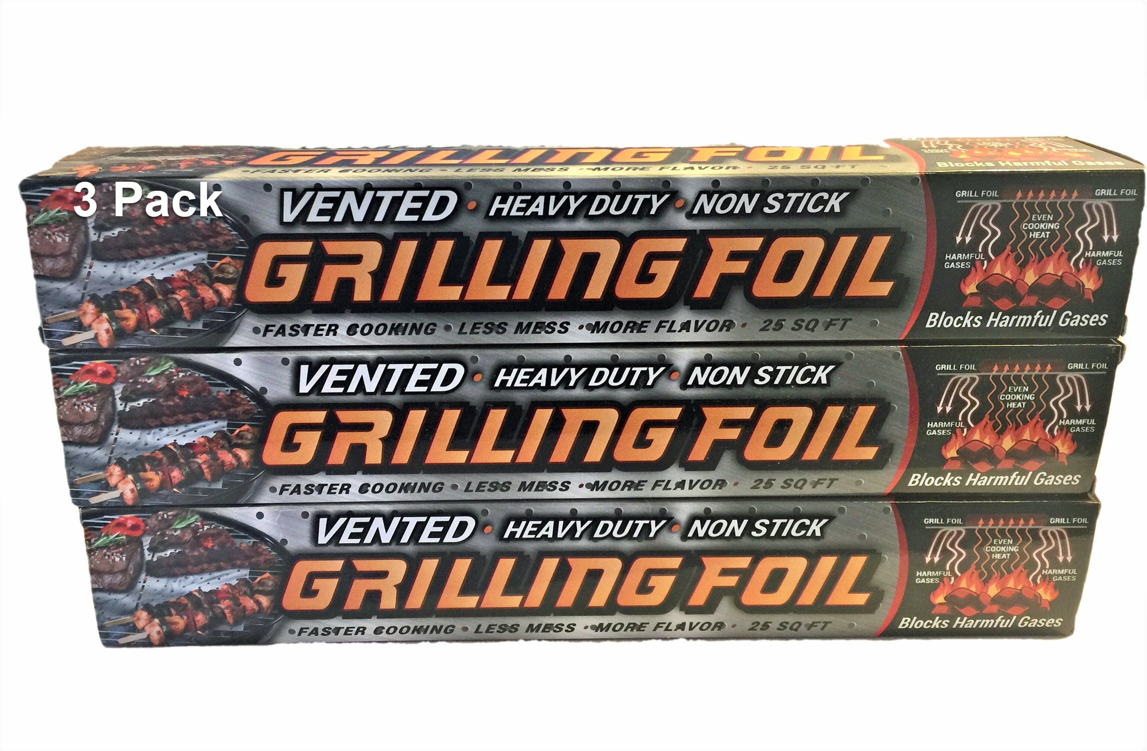 Grilling Foil - Barbecue Accessory Vented with Holes Specifically for Grilling and Steaming, Non-stick Aluminum Tin Foil, 3 PK â 12'' x 25 Sq Ft. Rolls, Faster Cooking, Less Mess.
