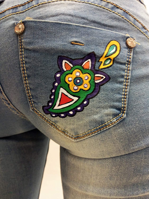 Pantalones vaqueros cintura baja mujer Casual Jeans pintados ...