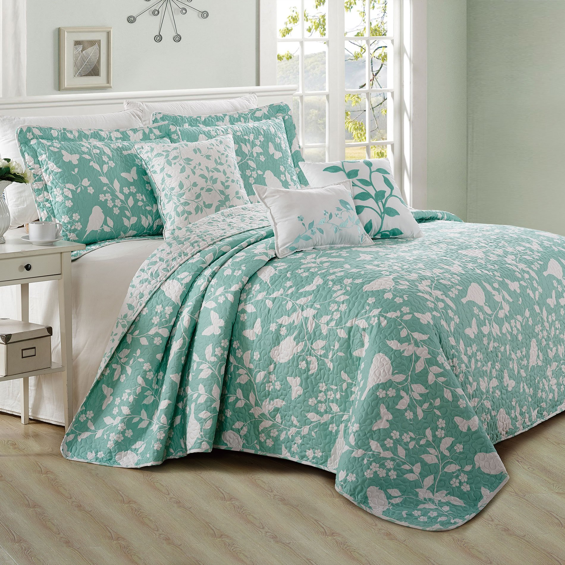 Home Soft Things Serenta 6 Piece Bird Song Printed Microfiber Quilts Coverlet Set, Queen, Teal Turquoise