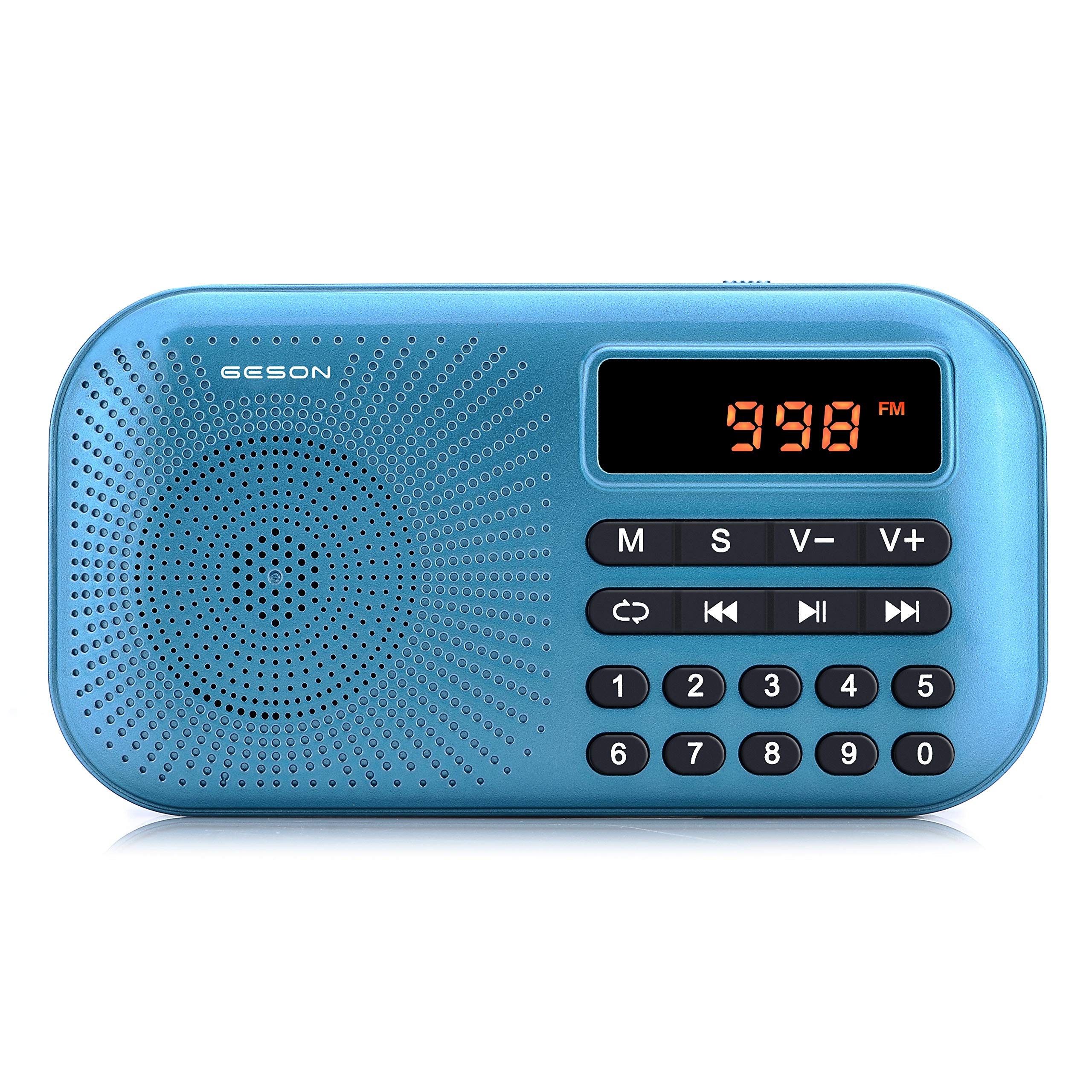 Portable AM FM Radio, Geson Mini Music Radio Player Support Micro SD Card/USB Disk with LED Screen Display (Blue) by Geson (Image #1)