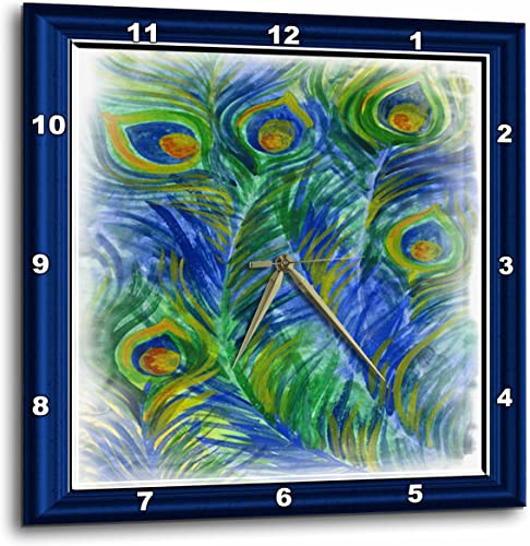 3dRose DPP_28803_3 Peacock Feathers in Watercolors Wall Clock, 15 by 15-Inch