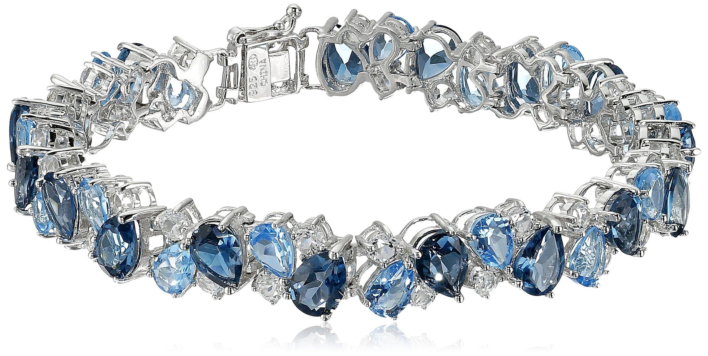 Sterling Silver Tonal Blue and White Topaz Bracelet, 7.25''