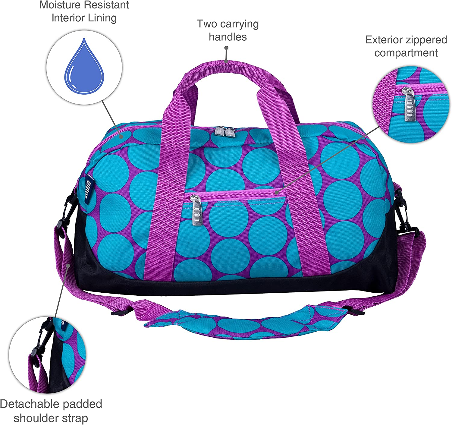 Zigzag Pink Sports Practice Carry-On Size Wildkin Weekender Duffle Bag Features Removable Shoulder Strap and Moisture-Resistant Lining and Travel Perfect for Sleepovers