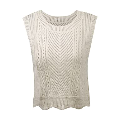 Women Casual Sleeveless Vest Crochet Knit Camisole Tank Top Short Shirt  Blouse (Beige)