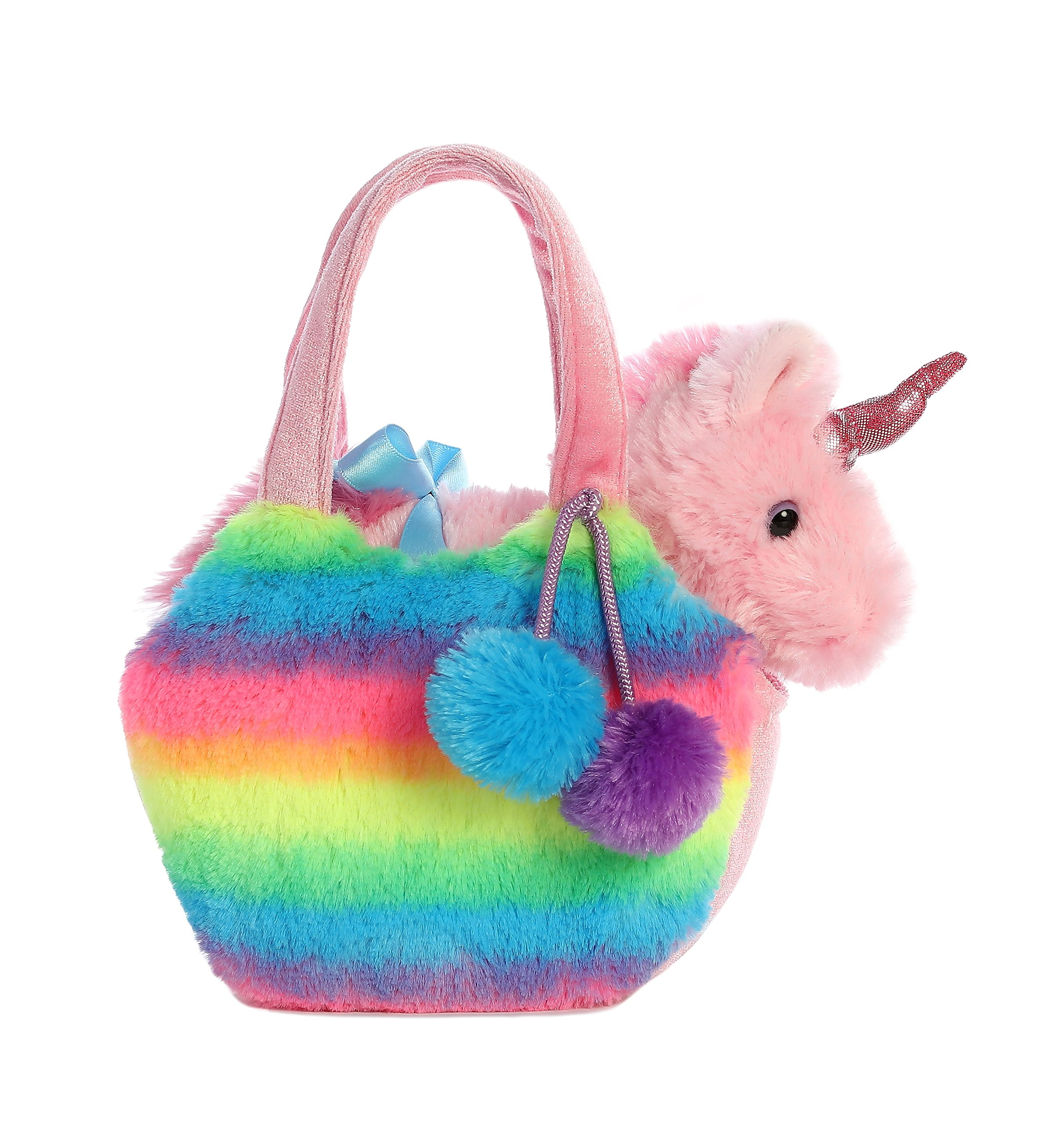 Aurora World Fancy Pals Pet Unicorn Carrier Plush, Rainbow 4