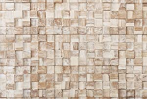 WoodyWalls 3D Wall Panels | Wood Planks are Made from 100% Reclaimed Wood | All Wood Squares are Handmade | Set of 10 Wood Planks for Rustic Wall Decor | DIY Wood Panels (9.5 sq.ft.) White Square