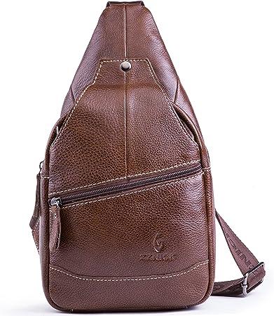 Chrysansmile Genuine Leather Sling Backpack