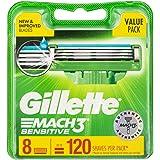 Gillette Mach3 Sensitive Razor Cartridges Refill, 8ct