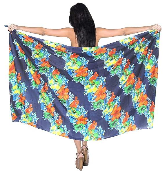 "823e37e0fb LA LEELA Soft Light Beach Bikini Pareo Sarong Printed 69""X42"" ..."