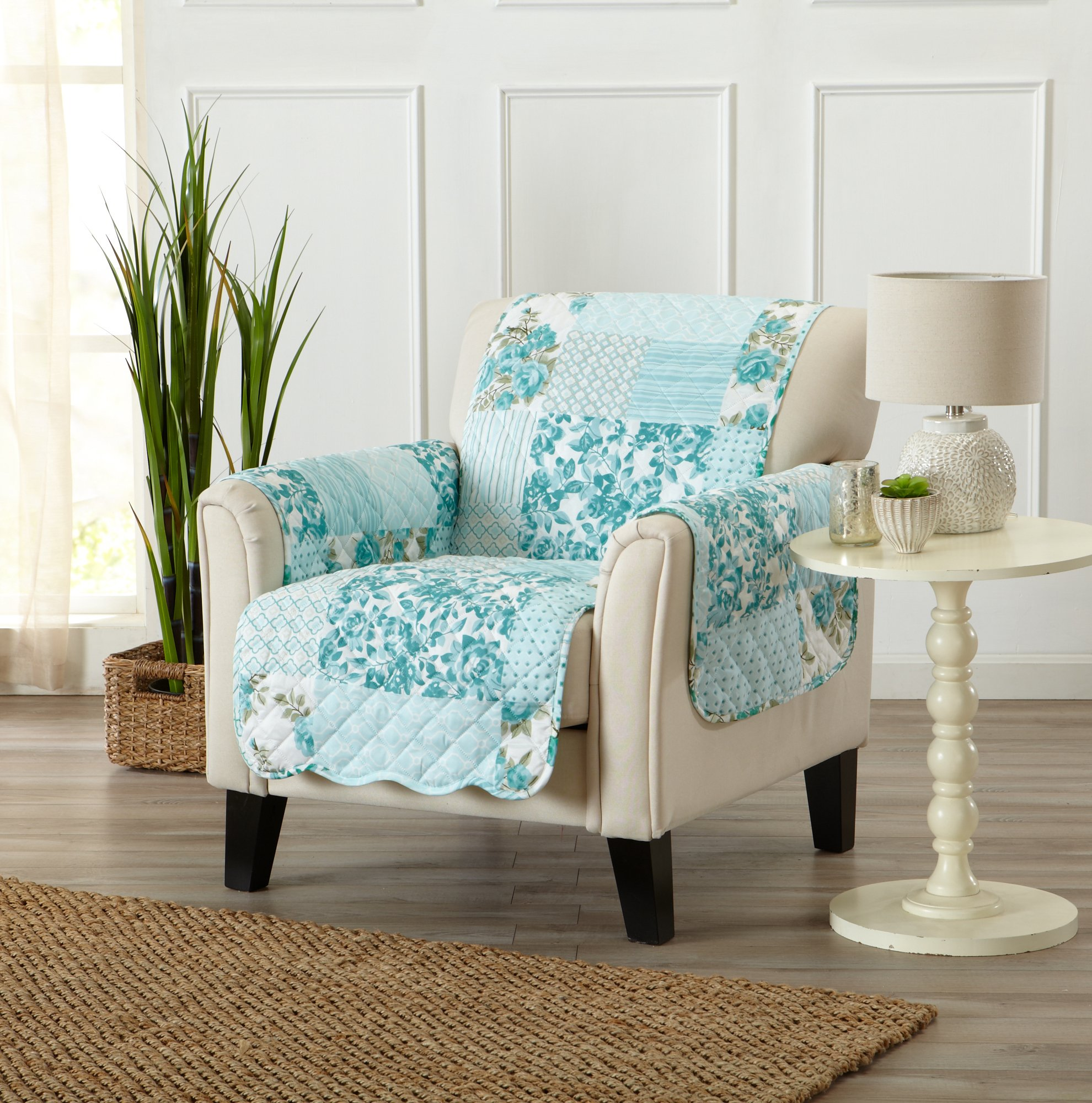 Great Bay Home Patchwork Scalloped Stain Resistant Printed Furniture Protector Brand. (Chair, Blue)