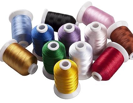 simthreads 12 Brother colores poliéster hilo de bordar, 1100 yrds cada