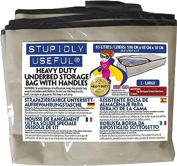 Bolsa de almacenamiento para debajo de la cama hecha en poli/éster resistente de 600 D con 4/asas reforzadas negro Para ropa 85 L edredones y ropa de cama Stupidly Useful